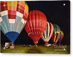 Hot Air Balloons Night Launch Acrylic Print by Paul Ward
