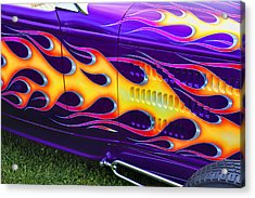 Hot Rod With Custom Flames Acrylic Print by Garry Gay