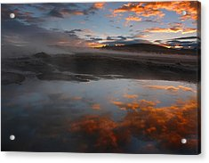 Hot Springs In The Bolivian Altiplano. Acrylic Print by Eric Bauer