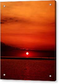 Hot Sunset Acrylic Print by Leigh Edwards