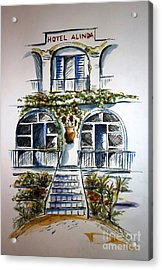 Acrylic Print featuring the painting Hotel Alinda - Leros by Therese Alcorn