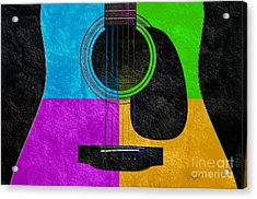 Hour Glass Guitar 4 Colors 3 Acrylic Print by Andee Design