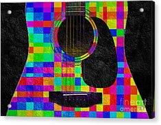 Hour Glass Guitar Random Rainbow Squares Acrylic Print by Andee Design