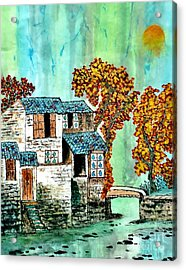 House By The River Acrylic Print by Katy Mei