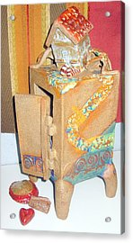 House Fell On My Wicked Witch Treasure Chest Acrylic Print by Chere Force