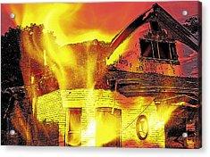 House Fire Illustration Acrylic Print by Steve Ohlsen