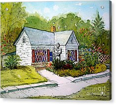 Acrylic Print featuring the painting House Of Flowers by Gretchen Allen