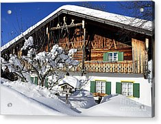 House Under Heavy Snow In Alps Acrylic Print