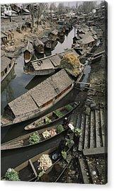 Houseboats Line A Waterway Acrylic Print by Gordon Wiltsie