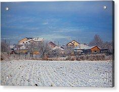 Houses In Winter Acrylic Print by Gabriela Insuratelu