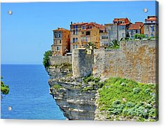 Houses On Top Of Cliff Acrylic Print by Pascal POGGI