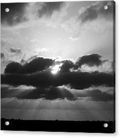 Houston Sunset In Black And White Acrylic Print