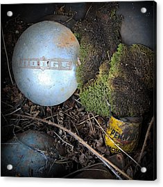 Hubcaps And Oil Cans Acrylic Print by Steve McKinzie