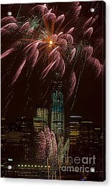 Hudson River Fireworks X Acrylic Print by Clarence Holmes