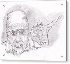 Acrylic Print featuring the drawing Hulk Hogan- Immortal by Chris  DelVecchio