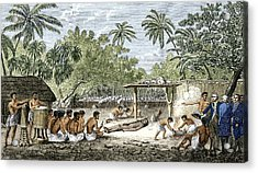 Human Sacrifice In Tahiti, Artwork Acrylic Print by Sheila Terry