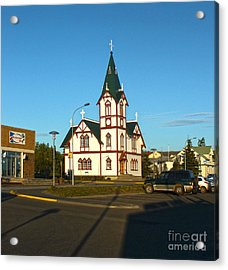Husavik Iceland Church Acrylic Print by Gregory Dyer