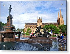 Hyde Park Fountain And St. Mary's Cathedral Acrylic Print by Kaye Menner