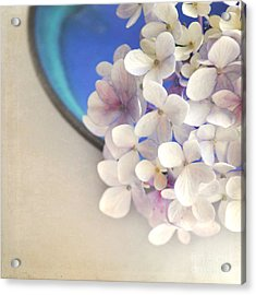 Hydrangeas In Blue Bowl Acrylic Print by Lyn Randle