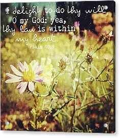 i Delight To Do Thy Will, O My God: Acrylic Print