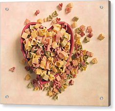 Acrylic Print featuring the photograph I Heart Pasta by Robin Dickinson