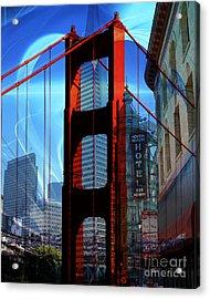 I Left My Heart In San Francisco . Golden Gate Bridge . Transamerica Pyramid . North Beach Acrylic Print by Wingsdomain Art and Photography