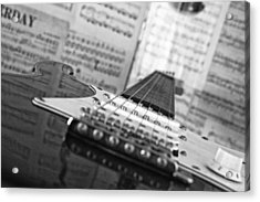 Ibanez Six String Black And White Acrylic Print