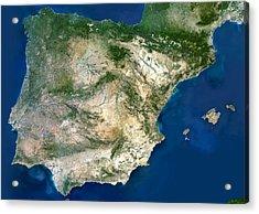 Iberian Peninsula, Satellite Image Acrylic Print by Planetobserver