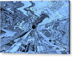 Ice Blue - Abstract Art Acrylic Print by Carol Groenen