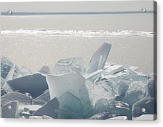Ice Chunks On The Shores Of Lake Acrylic Print by Susan Dykstra