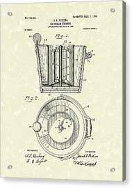 Ice Cream Freezer 1904 Patent Art Acrylic Print