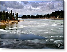 Ice On The Yellowstone River Acrylic Print by Ellen Heaverlo