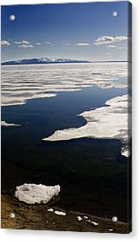 Acrylic Print featuring the photograph Ice On Yellowstone Lake by J L Woody Wooden