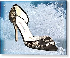 Ice Princess Lace Pumps Acrylic Print by Elaine Plesser