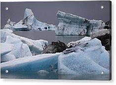 Icebergs Acrylic Print by Arnar B Gudjonsson