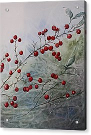 Acrylic Print featuring the painting Iced Holly by Patsy Sharpe