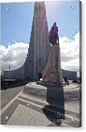Iceland Leif Erricson Statue 02 Acrylic Print by Gregory Dyer