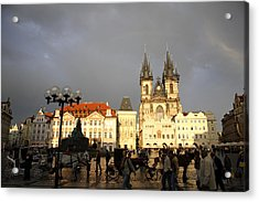 Iconic Old Town Medieval Houses Facades And Tourists Old Town Square Acrylic Print by Christer Fredriksson