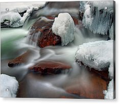 Icy River Acrylic Print by Haakon Nygård