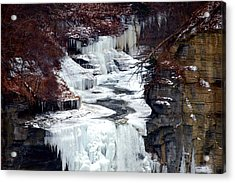 Icy Waterfalls Acrylic Print by Paul Ge