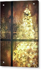Icy Window With Holiday Tree Full Of Lights Acrylic Print by Sandra Cunningham