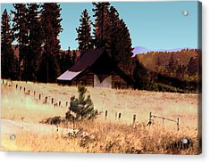 Idaho Barn Painting Acrylic Print by Mary Gaines