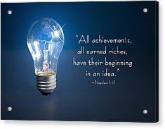 Ideas- Lightbulb Acrylic Print by Trudy Wilkerson