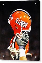 Illinois Football Helmet  Acrylic Print by University of Illinois