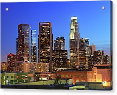 Illuminated Of Downtown Skyscrapers Acrylic Print by Kenny Hung Photography