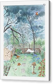 Illustration Of A Garden During A Storm Acrylic Print by Dorling Kindersley