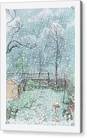 Illustration Of Rain Or Wet Snow Against A Window Looking Out Onto A Garden Acrylic Print by Dorling Kindersley