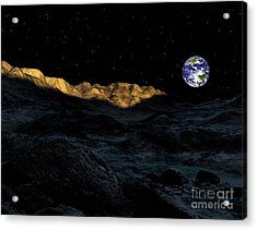 Illustration Of The Peaks Surrounding Acrylic Print by Ron Miller