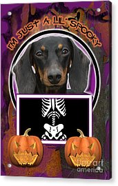 I'm Just A Lil' Spooky Dachshund Acrylic Print by Renae Laughner