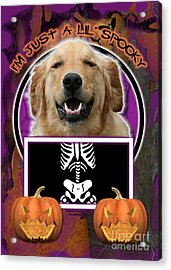 I'm Just A Lil' Spooky Golden Retriever Acrylic Print by Renae Crevalle